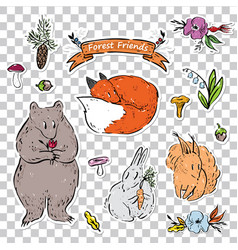 A set stickers with animals from forest vector