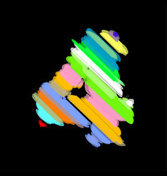 abstract colorful number 4 vector image