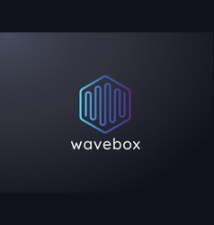 abstract hexagonal box cube with audio wave for vector image