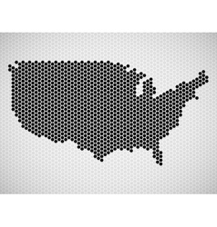Abstract map of USA from hexagons vector image