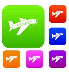 airplane set color collection vector image