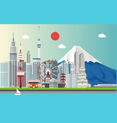 amazing tourist attrations for traveling in tokyo vector image