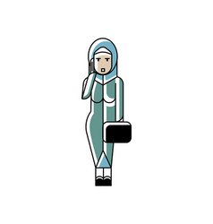 arabic woman with suitcase talking on phone vector image