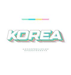 Awesome korea alphabet kawaii pastel color vector