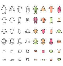 Baclothes line icons set vector