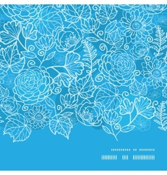 blue field floral texture horizontal frame vector image