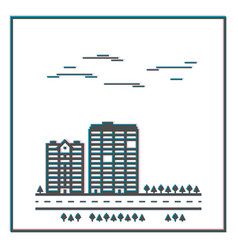 Buildings with trees and road vector