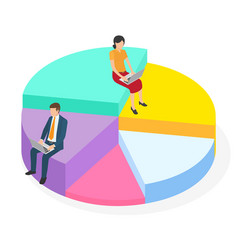 business people sit on conceptual giant round pie vector image