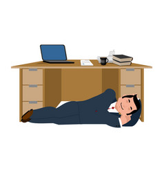 businessman sleeping under table boss asleep vector image