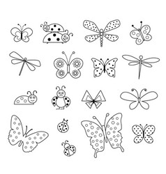 butterfly and ladybug digital stamps vector image