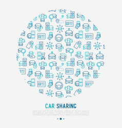 Car sharing concept in circle vector