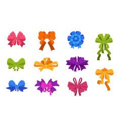 cartoon bows and ribbons christmas and birthday vector image
