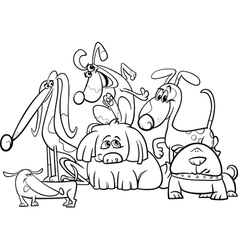 cartoon dogs group coloring page vector image