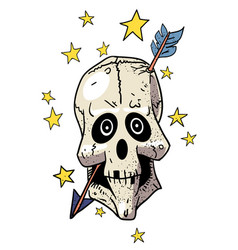 Cartoon image of magic skull with arrow through vector