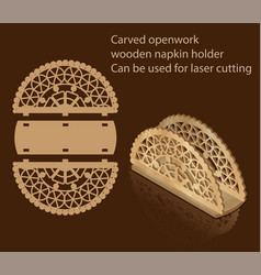 Carved openwork wooden napkin holder can be used vector