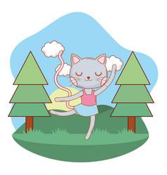 cat outdoors cartoon vector image