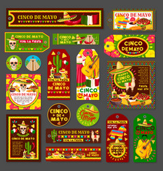 cinco de mayo mexican fiesta party tag and card vector image