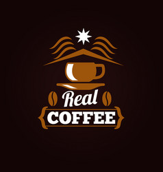 coffee shop label or banner design vector image