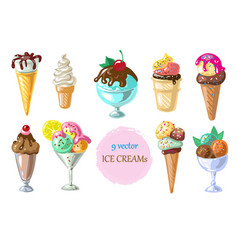 collection of 9 ice cream vector image