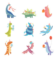 collection of cute colorful dinosaurs in party vector image