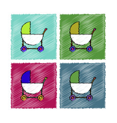 Collection of flat shading style icons baby vector