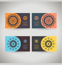 colorful ornamental template for business card vector image