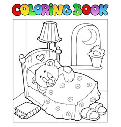 Coloring book with teddy bear 1 vector