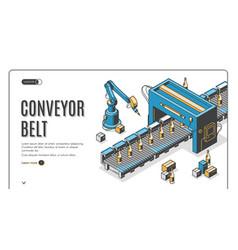 Conveyor belt web banner robot hands pack bottles vector
