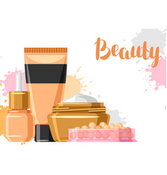 Cosmetics for skincare and makeup background vector