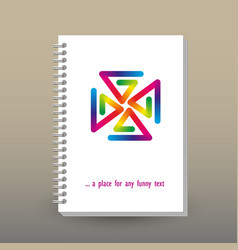 Cover of diary or notebook rainbow pinwheel vector