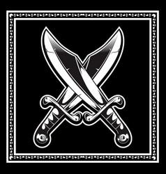 Crossed swords hand drawing vector
