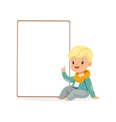 cute boy character sitting next to white empty vector image