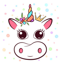 Cute cow cowicorn characters vector