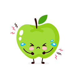 cute sad cry apple character vector image