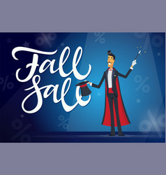 Fall sale - cartoon people characters vector
