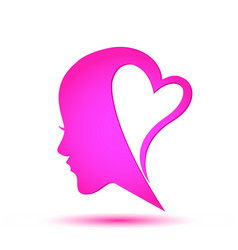 female face head logo vector image