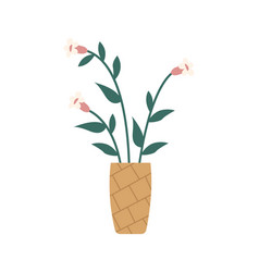 flowers in vase isolated blossoms plants vector image