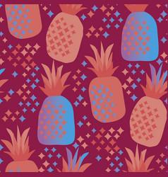 fun vivid pineapple seamless pattern vector image