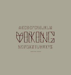 Geometric sans serif font in timbered house style vector