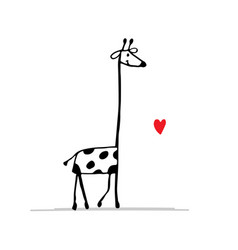 Giraffe in love funny sketch for your design vector