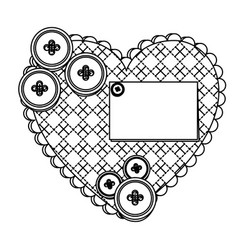 Grayscale figures inside of heart icon vector