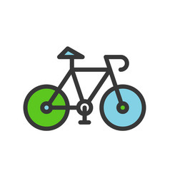 green bicycle filled outline flat icon save vector image