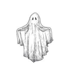 Hand drawn halloween scary flying ghost vector