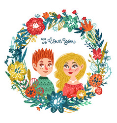 hand drawn man and woman with flowers vector image