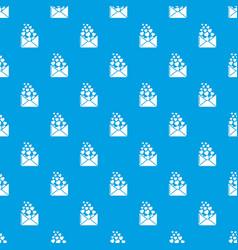 heart letter pattern seamless blue vector image