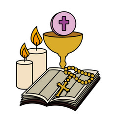 Holy bible with chalice and rosary vector