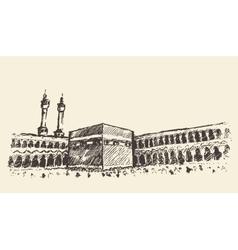 Holy Kaaba Mecca Saudi Arabia muslim sketch vector image