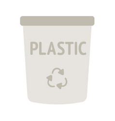 icon of yellow waste bin with recycling vector image