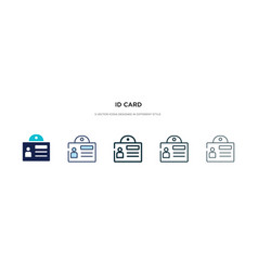 id card icon in different style two colored and vector image