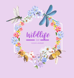 Insect and bird wreath design with butterfly vector
